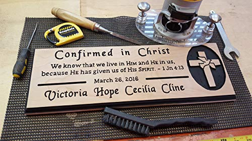(Confirmation, First Communion Christening Baptism Commemorative Personalized Hand Routed Wood Sign Name Cherry)