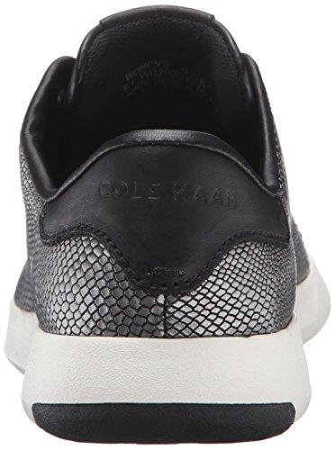 Cole Haan Womens Grandpro Tennis In Pelle Pizzo Ox Moda Sneaker Nero / Canna Di Fucile Stampa Serpente