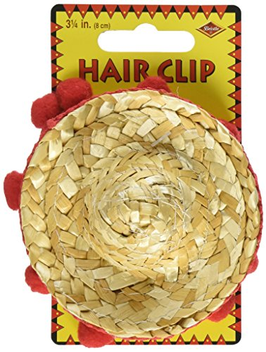 Natural Straw Sombrero (Sombrero Hair Clip Party Accessory (1 count) (1/Pkg))