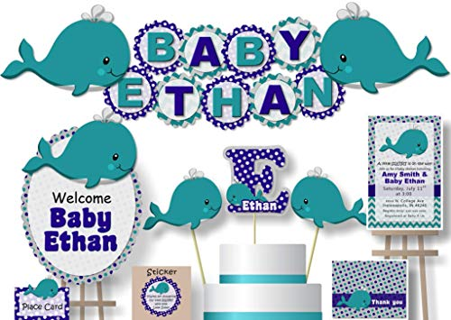 Personalized Teal & Navy Whale Baby Shower or Birthday Party Decorations for Boy - Banner with Optional Cake Topper, Centerpiece, Welcome Sign, Favors or Stickers, Thanks - Handmade in USA - BCPCustom ()