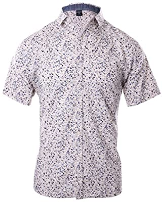 Enimay Men's Short Sleeve Shirt Button Down Collared Printed Lightweight Casual
