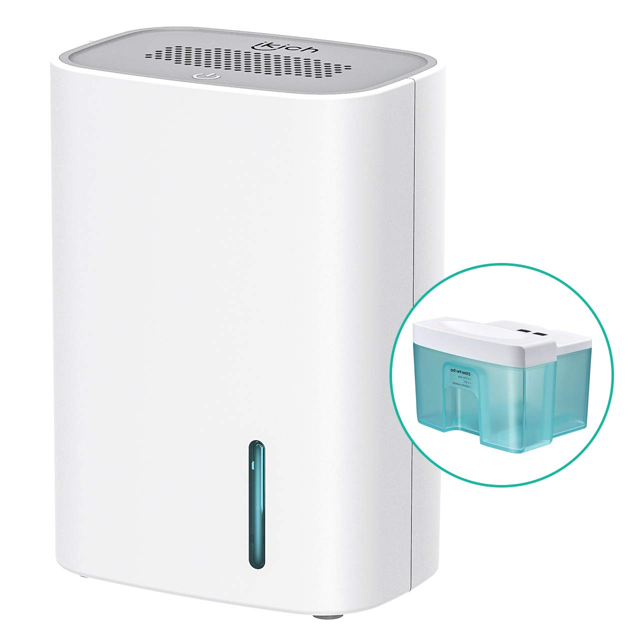 Dehumidifier, iKich 700ml Compact Portable Mini Dehumidifier for Home, with Touch Switch, Silent Mode, Ultra Quiet, Damp, Moulds, Moisture Absorber in Bedroom, Bathroom, Kitchen, Garage, Office