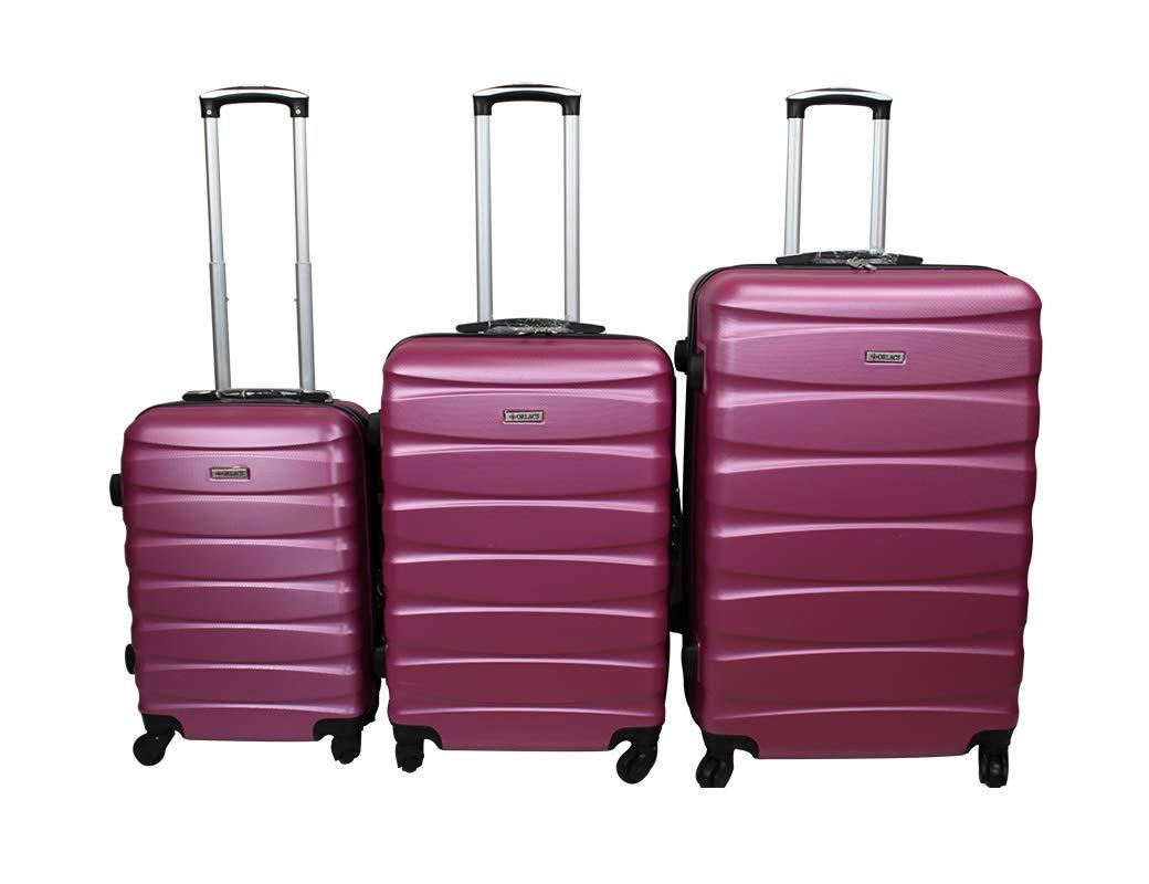 Dublin 2 set da 3 pezzi valige trolly in ABS e policarbonato con 4 ruote girevoli 360° gradi colori vari (ARANCIONE) A-30