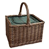 Wicker Butchers Basket with Zipped Cooler Bag