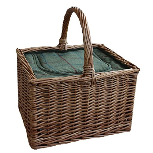 Wicker Butchers Basket with Zipped Cooler Bag by Red Hamper