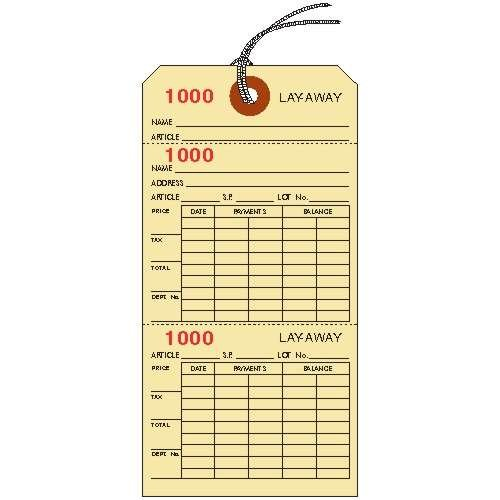 LAYAWAY TICKETS / TAGS, 6.25'' X 3.125'', Manila Cardstock, 3-Part, Consecutively Numbered, Prestrung - PACK OF 100