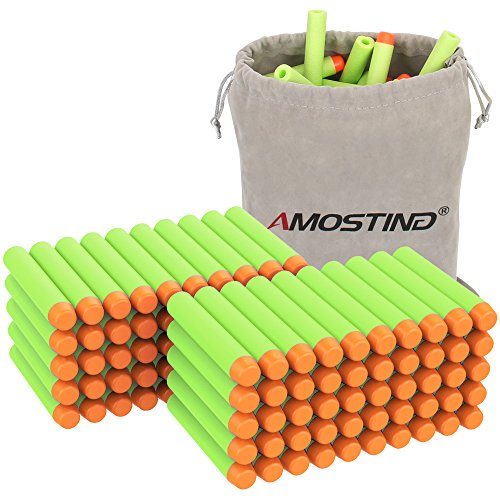AMOSTING Refill Darts 100PCS Bullet for Nerf N-Strike Elite Zombie Strike Rebelle - Green with Storage Bag (Strike Zombie Ammo Nerf)