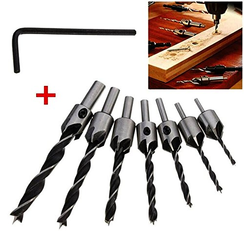 Countersink Drill Bits Set, Woodworking Chamfer, 7 PCS Carpentry Reamer Core Drill Bit with One Free Hex Key