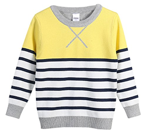 FULL BLESSING Causal Striped Long Sleeved Pullover Crewneck Spring Sweater for Child - Sweater Striped Crewneck Trim