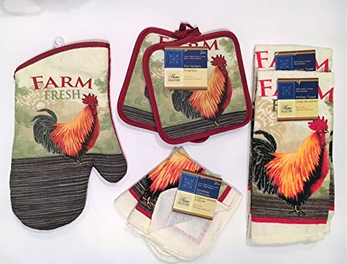 Home Collection Rooster Kitchen Decor - Towel Linen Set (7 Pc) Farm Fresh Red Rooster Theme - 2 Kitchen Towels, 2 Potholders 2 Scrubber Dishcloths 1 Oven Mitt