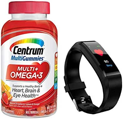Centrum MultiGummies Multi + Omega-3 Supplement That Supports a Healthy Body, Heart, Brain and Eyes in Natural Strawberry, Lemon and Orange Flavor 100 Gummies (with Smart Fitband Watch)