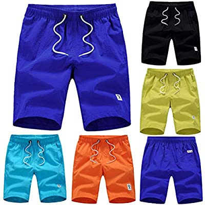 NUWFOR Men's Casual Fashion Pure Color Beach Pocket Surfing Swimming Loose Short Pants