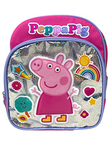 """10"""" X-Small Peppa Pig Pink Backpack- Characters on the Front-46516"""