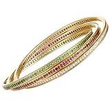 Luxury Bazaar Cartier Trinity 18K Yellow Gold Full Diamond Ruby and Emerald Rolling Bangle Bracelet
