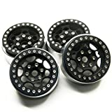 MOHERO 1.9'' Alloy Beadlock 1/10 RC Wheel Rims for SCX10 CC01 RC4WD D90 TRX-4 Cars (Black)