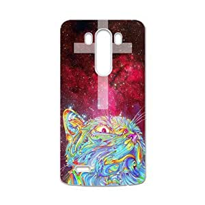 Funny Mega Space Cat Rising case cover for LG G3 (Fit for AT&T),Metal and Hard Plastic Case-Clear Frame