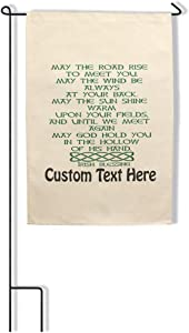 Style In Print Home Decor Garden Flag May The Road Rise to Meet You Irish Blessing Cotton Canvas Outdoor & Patio Decor Flag Only Personalized Text Here