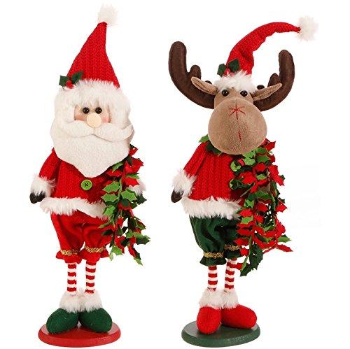 Raz Imports Set of 2 Santa Claus and Moose in Holiday Santa Hats and Holly Garland 26