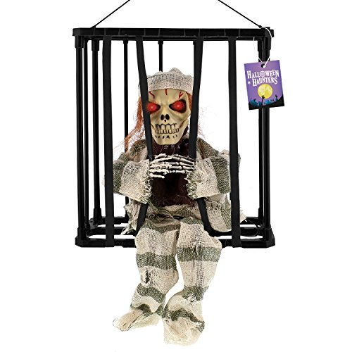 Halloween Haunters Animated Hanging Caged Skeleton Ghost Prisoner Speaking Moving Escaping Locked Prison Jail Prop Decoration - Screams Help Me as Head Lurches Forward Arms Move - Spooky Haunted House ()