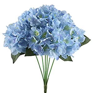 "NAHUAA 16.5"" Artificial Silk Hydrangea Flowers Arrangements Large Fake Floral Bundles Home Wedding Bouquet Table Centerpieces Party Decoration (Tiffany Blue) 1"