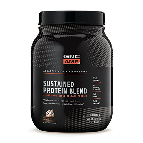 (GNC AMP Sustained Protein Blend - Chocolate Milkshake, 2.04 lbs, High-Quality Protein Powder for Muscle Fuel )