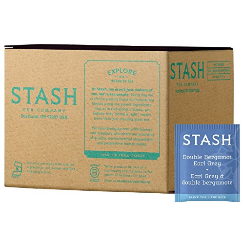 - Stash Tea Double Bergamot Earl Grey Tea 100 Count Box of Tea Bags, Full Caffeine Tea, Black Tea with Bergamot, Enjoy Hot or Iced
