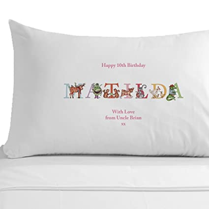Personalised 10th Birthday Pillowcase Girls Presents Phonetic Alphabet Illustrations Gifts Amazoncouk Kitchen Home