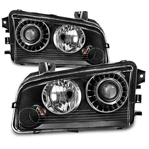 For Dodge Charger OE Replacement Black Projector HID Type Headlights Driver/Passenger Head Lamps Pair