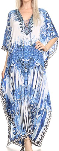 Sakkas SS1686 KF2020967LAT - LongKaftan Georgettina Ligthweight Printed Long Caftan Dress / Cover Up - Blue / White (Blue Kaftan)
