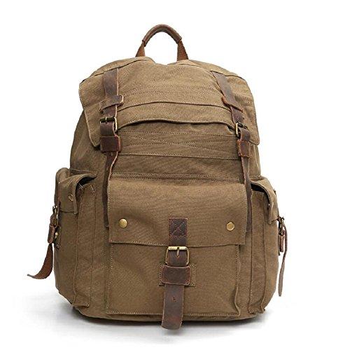 ZC&J Bolso de hombro retro de la lona de los hombres, estilo continental, bolso de estudiante de la capacidad grande de 29 L, bolso al aire libre del senderismo del alpinismo,C,29L C