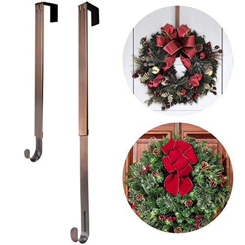 Wreath Hanger,Adjustable Length 14.9-25 Inch Metal Door Hanger,Wreath Hanger for Front Door 20 lbs Larger Christmas Wreaths Decorations Hook, Bronze