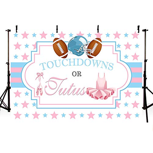 MEHOFOTO Touchdowns or Tutus Gender Reveal Party Photo Studio Booth Backgrounds Baby Shower Boy or Girl Pink Blue Stars Photography Backdrops Banner 7x5ft
