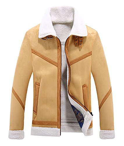 Chartou Men's Winter Spread Collar Sherpa Lined Suede Leather Trucker Jacket Coats (X-Large, - Spread Coat Collar