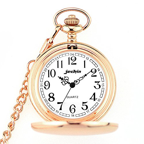 Jechin Classic Big Dial Quartz Pocket Watch - Rose Gold,Hunter Case, 14'' Chain, Comes in Gift Box