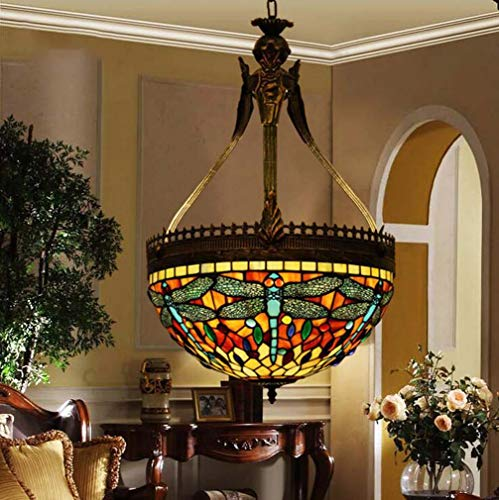 Tiffany Style Inverted Ceiling Hanging Lamp Dragonfly, 16 Inch Stained Glass Vintage Single Head 1-Light Pendant Light Shade for Restaurant Bedroom, E27 ()