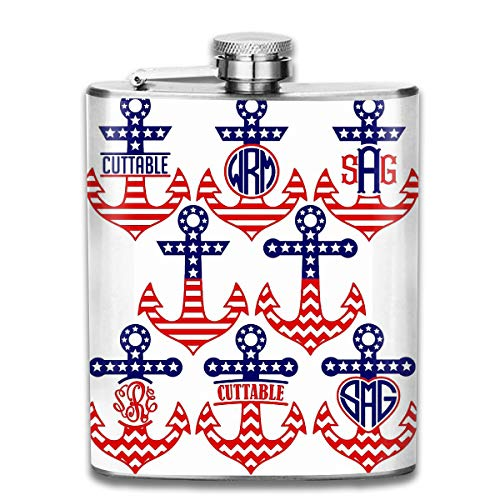 United States Flag Anchor Design Fashion Portable Stainless Steel Hip Flask Whiskey Bottle for Men and Women 7 Oz
