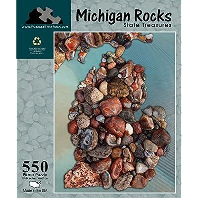 Michigan Rocks State Treasures 550 Piece Puzzle: Toys & Games