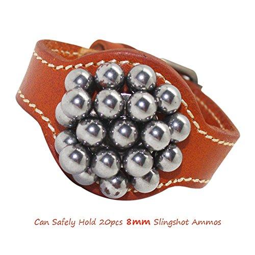 Boshiho鋼球 腕収納 磁石付き スリングショット パチンコ アウトドア レザー 弾弓 (オレンジ)の商品画像