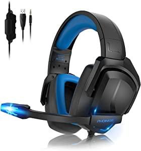 PS4 Gaming Headset for PS5, PC, Nintendo Switch, Laptop, H6 Xbox One Headset with 7.1 Surround Sound, Wired Over Ear Pro Headphones with Noise Canceling Mic & LED Light, Bass Surround (Black)