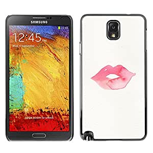 LASTONE PHONE CASE / Slim Protector Hard Shell Cover Case for Samsung Note 3 N9000 N9002 N9005 / Cool Lips Kiss Love Pink Red Minimalist White