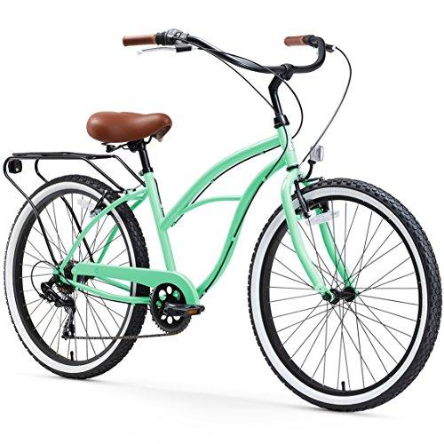 sixthreezero Around The Block Women's 7-Speed Cruiser Bicycle, Mint Green w/ Brown Seat/Grips, 26