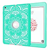 iPad Air Case, Hocase Rugged Shock Absorbent Hybrid Double Layer Hard Rubber Protective Case Cover with Stylus for Apple iPad Air (2013 Release) - Aqua Flower Print / Grey