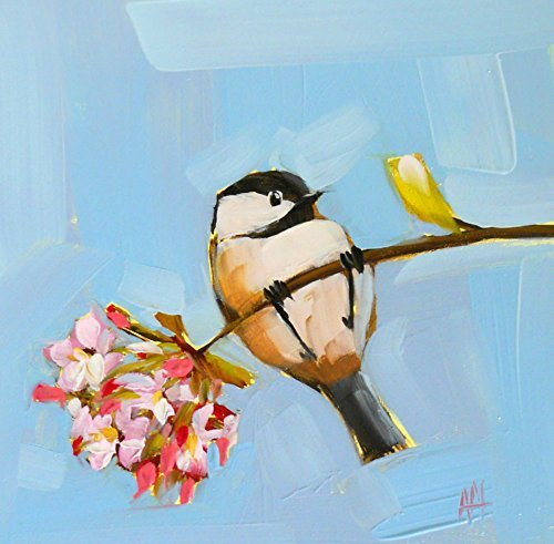 Chickadee and Apple Blossoms art print by Angela Moulton 6 x 6 inch