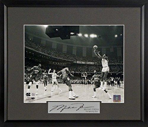 "UNC/Chicago Bulls Michael Jordan ""Winning Shot"" 11x14 Photograph (SGA Signature Engraved Plate Series) Framed w/Gray Matting"