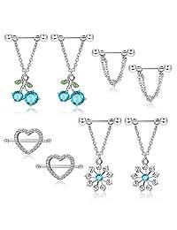 ORAZIO Nipple Rings for Women Girls 14G Stainless Steel CZ Heart Dangle Nipplerings Barbell Piercing Jewelry