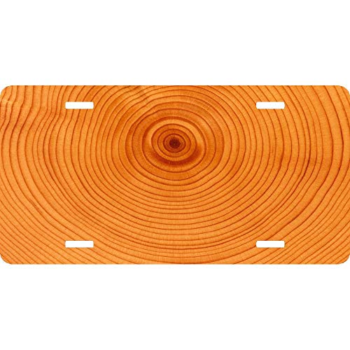 Tree Background Circles Slice Trunk Custom Personalized Aluminum License Plate Tag Sign for Auto Cars, Metal Car Tag Cover for US Vehicles, 12 x 6 Inch