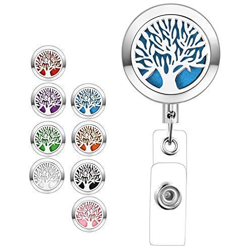 Retractable Badge Holder Reel Heavy Duty Diffuser ID Card Badge Clip Aromatherapy Cute Essential Oil Holder for Nurse Teacher with Tree of Life by TONY & SANDY