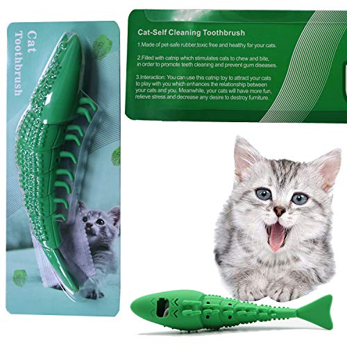 Adusa Interactive Cat Toys Catnip Toys Cat Toothbrush Chew Toys,100% Natural Rubber Bite Resistance Catnip Cat Treat Toys,Crayfish Shape Cats Teeth Cleaning Dental Care toys 8