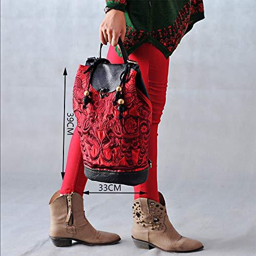 Dos à En Main Cuir Vintage à Sac Broderie De Ethnique Voyage Sac Sac Red 8SgRxzqw