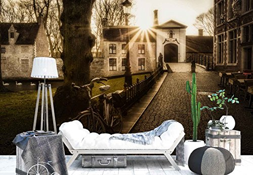 Photo wallpaper wall mural - Village Cobblestone Alley Houses Pond - Theme Travel & Maps - XL - 12ft x 8ft 4in (WxH) - 4 Pieces - Printed on 130gsm Non-Woven Paper - 1X-124931V8 ()
